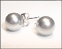 Swarovski Silver Gray Pearl  Stud Earrings in Silver  (8 mm)