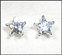 Star Clear CZ Earrings in Sterling Silver 7mm