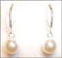 Swarovski Cream Rose Pearl Leverback Earrings in Silver (8 mm)