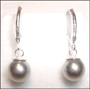 Swarovski Silver Gray Pearl Leverback Earrings in Silver (8 mm)