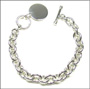 "Disc Charm Toggle Silver Link Bracelet  (Heavy) 7"" - 7.5"""