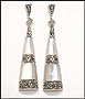 Mother of Pearl Marcasite Silver Dangle Earrings