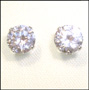 Round Cubic Zirconia Stud Earrings in Sterling Silver (10mm)