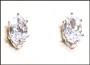 Marquise Clear CZ Silver Stud Earrings in Sterling Silver (3 x 5 mm)