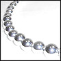 "Large Bead Graduated Sterling Silver Beaded Necklace (Plus Size 18"")"