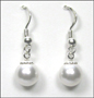 Swarovski White Pearl Hook Earrings in Silver  (8 mm)