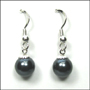 Swarovski Tahitian Color Pearl Hook Earrings in Silver  (8 mm)