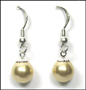 Swarovski Gold Pearl Hook Earrings in Silver  (8 mm)