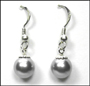 Swarovski Silver Gray Color Pearl Hook Earrings in Silver  (8 mm)