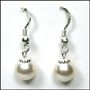 Swarovski Creme Rose  Pearl Hook Earrings in Silver  (8 mm)