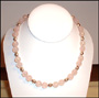 Rose Quartz Necklace with Balinese Silver Beads 20""