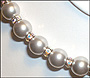 "Swarovski Silver Grey Pearl  (12mm) Necklace with Rondelle (Plus Size 18"")"