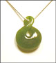 Large Carved Infinity Green Jade Necklace 20""