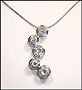 Sterling Silver Alternated Bubble CZ Necklace (Plus Size)