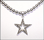 Marcasite Star Necklace with Silver Beaded Chain (Plus Size)