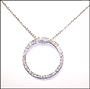 Large Circle Pendant CZ Silver Necklace (Plus Size)