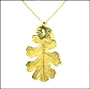 Gold Lacey Oak Leaf Necklace