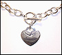 Heart Charm Toggle Silver Necklace Bracelet Set (Medium)