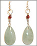 Water Drop Green Jade Earrings with Garnet in Silver