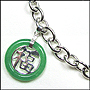 "Green Jade Blessing Pendant Silver Link Necklace (Medium 18"")"