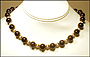 "Black Onyx and Gold Filled Bead Necklace (Plus Size 18"")"