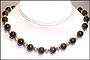 "Black Onyx and Silver Bead Necklace (Plus Size 18"")"