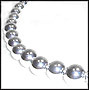 Large Bead Graduated Sterling Silver Beaded Necklace 18""