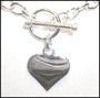 "Mini Link Heart Charm Toggle Silver Necklace (Light 16"")"