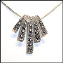 Palm Shaped Marcasite Slide with Snake Chain