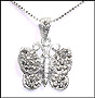 Silver Butterfly Marcasite Necklace