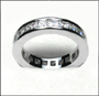 Princess Cut Eternal Engagement Silver Band Ring