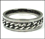Men's Link Chain Stainless Steel Promise Ring Plus Size 13, 14, 15, 16, 17