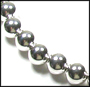 Large Bead Sterling Silver Beaded (11 mm)  Necklace 16""