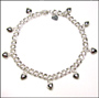 Heart Charm Cable Link Silver Anklet