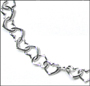 "Heart Link Silver Toggle Anklet  9.5"" - 10"""