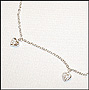 Dangle CZ Heart Charm Silver Anklet