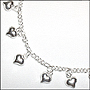 Heart Charm Link Silver Anklet