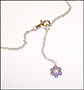 Hanging Purple Enamel Flower Charm Anklet