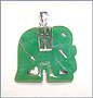 Green Jade Elephant Pendant in Silver
