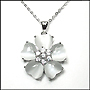White Cat's Eye Flower Necklace in Silver