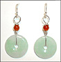 Disc Circle Green Jade Earrings with Garnet in Silver