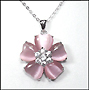 Pink Cat's Eye Flower Necklace in Silver