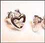 Open Heart Silver Earrings with Diamond