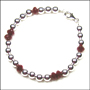 "Sterling Silver Bead (6mm) and Ruby Quartz Bracelet  (7"" - 7.5"")"