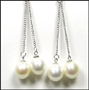 Freshwater Duo Pearl Dangle Earrings in Silver