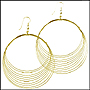 Large Gold Tone Stranded Wire Earrings