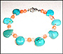 Turquoise  Pearl and Coral Anklet 9.5""