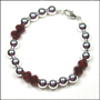 "Sterling Silver Bead (8mm) and Ruby Quartz Bracelet  (7"" - 7.5"")"