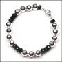 "Sterling Silver Bead (8mm) and Black Onyx Bracelet  (7"" - 7.5"")"