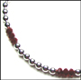 Sterling Silver Bead (8 mm) and Red Ruby Quartz Necklace 16""